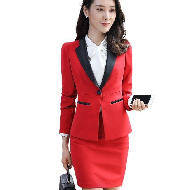 54472e19c Nueva moda de las mujeres trajes de falda set Business formal de manga  larga Patchwork chaqueta y falda de la oficina de las señoras más el tamaño  ...