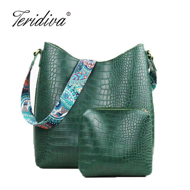 2019 Fashion Teridiva Brand Women Handbags Hobo Bag Crocodile Handbag  Women S Shoulder Bags Hobos Large Capacity Shopping Bag Printing Purse  Crossbody Bags ... 4abf2a6934