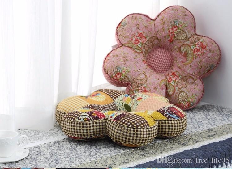 En venta Pastoral Decorativo Impreso Forma de flor Asiento Cojín Espesar Hassock Silla Tatami Bay Ventana Taburete Cojín Futón Hogar Suministros