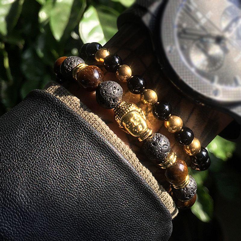 Mens Bracelets Lava buddha bracelet For Men Natural Stone Beads Bracelet Gift Religion Yoga pulseras pulseira masculina