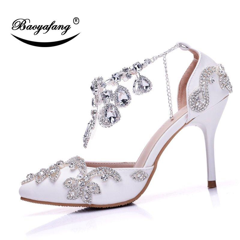 eae357548841 Wholesale Silver Crystal Ankle Strap Tassel Shoes Woman Fashion Thin Heel  Ladies Wedding Shoes Buckle Crystal Shoes Ladies Pumps Online with   96.78 Pair on ...