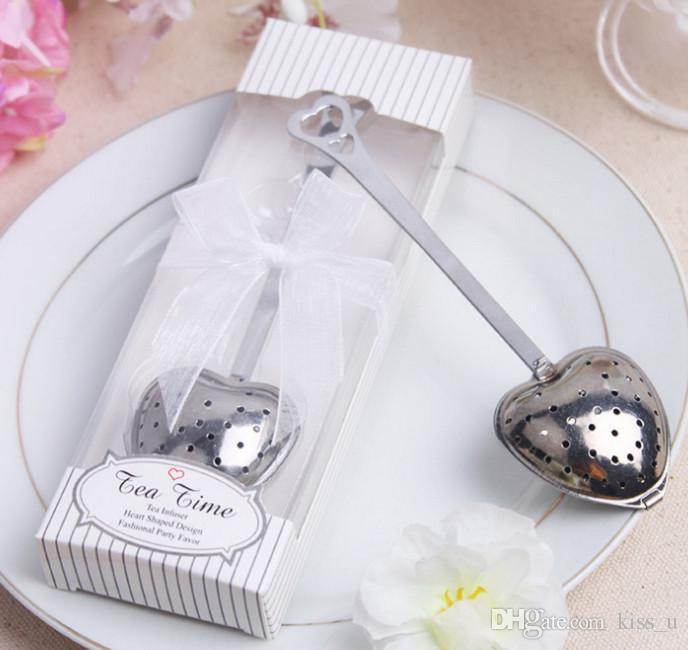 2018 Wedding Favor Heart Shape Stainless Steel Tea Leaf Herbal Filter Infuser Wedding Favors Party Supplier Gift