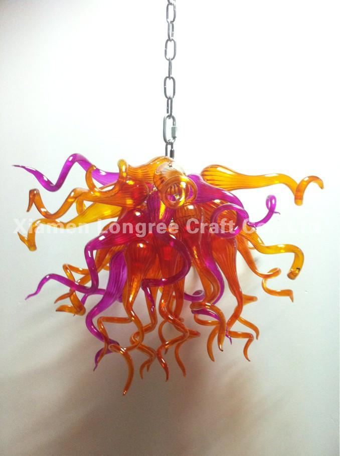 Hanging LED Chandelier 100% Handmade Blown Glass Modern Art Decor Chihuly Style Italy Designed Mini Cheap Chandelier for Home Decor