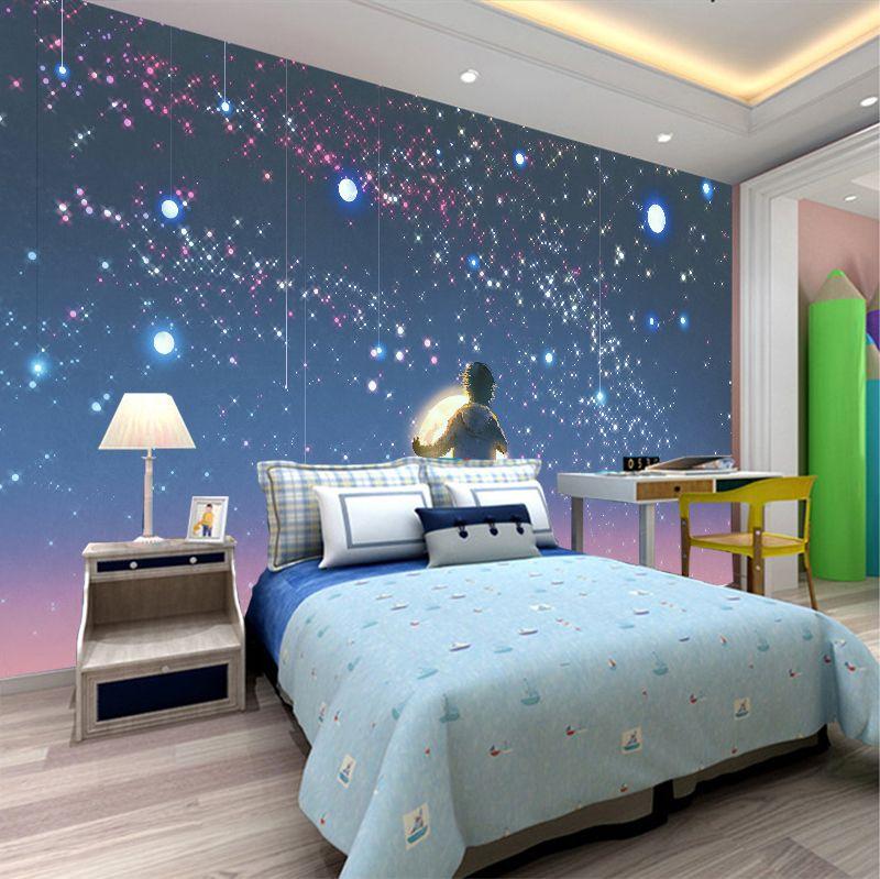 Custom 3D Photo Wallpaper For Kids' Room Living Room Sofa Background Wall Mural Cartoon Dream Boy Starry Sky Home Decoration