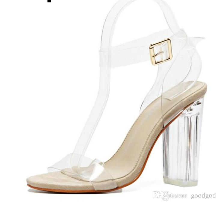 11b27352407 Women Sandals Ankle Strap Perspex High Heels PVC Clear Crystal Concise  Classic Buckle Strap High Quality Shoes Flat Shoes Wedge Shoes From  Goodgod