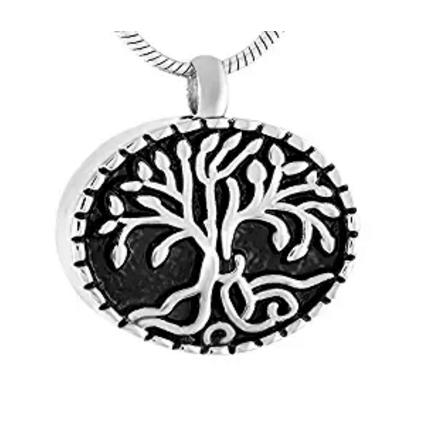 Wholesale stainless steel round life tree engraving perfume bottle necklace to commemorate lover pet funeral cremation urn fashion pendant