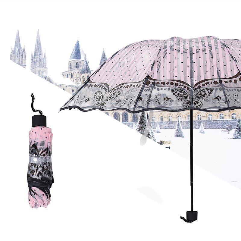 6080581f9369b 2019 Princess Rain Umbrella Woman 3 Fold Umbrellas Kids Lady Pink Flower  Plastic Umbrella Small Sunshade Transparent Clear Parapluie From Olgar, ...