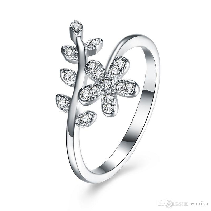 Real Sterling Silver 925 Ring , Luxury Austrian Crystal Ring, Fashion Lovers Flower Leaf Shape Rings Silver Jewelry free shipping R119