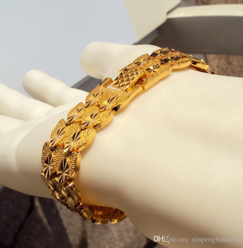 Eternal classics Men's Women's Bracelet Wide 23K 24K THAI BAHT YELLOW FINE SOLID GOLD GP Bangle Twin 7.9 inch