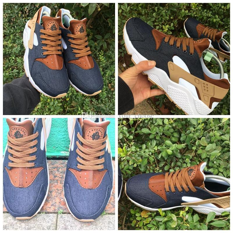 69f8b603143e 2019 2018 Huarache ID Custom Breathe Running Shoes Men Women Navy Blue Tan  Fashion Huaraches Multicolor Denim Huarache Sneakers Athletic Trainers From  ...