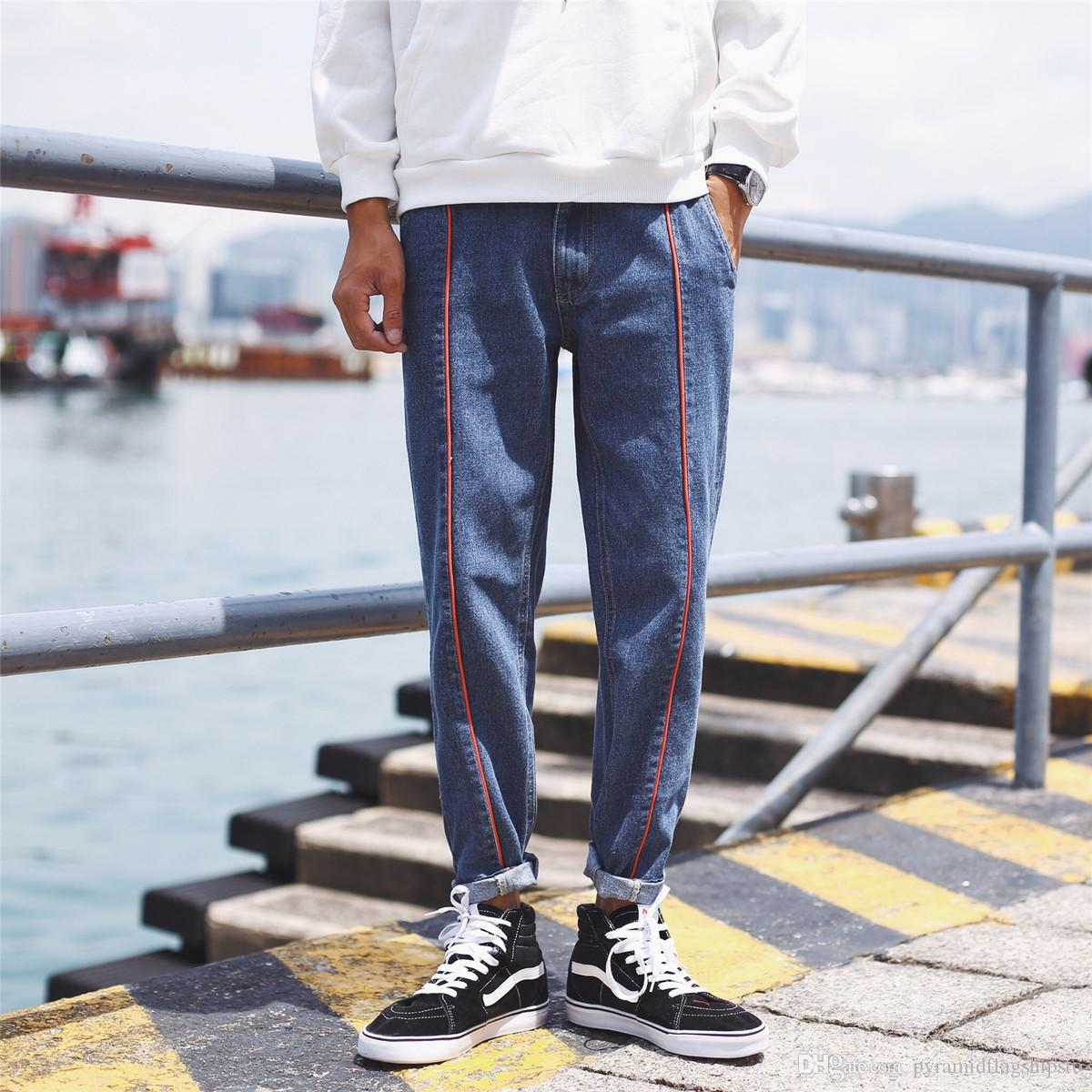 2018 Men's Fashion Trend Cowboy Washed Casual Pants Classic Black Blue Stretch Jeans Slim Fit Homme Biker Denim Trousers M-2XL