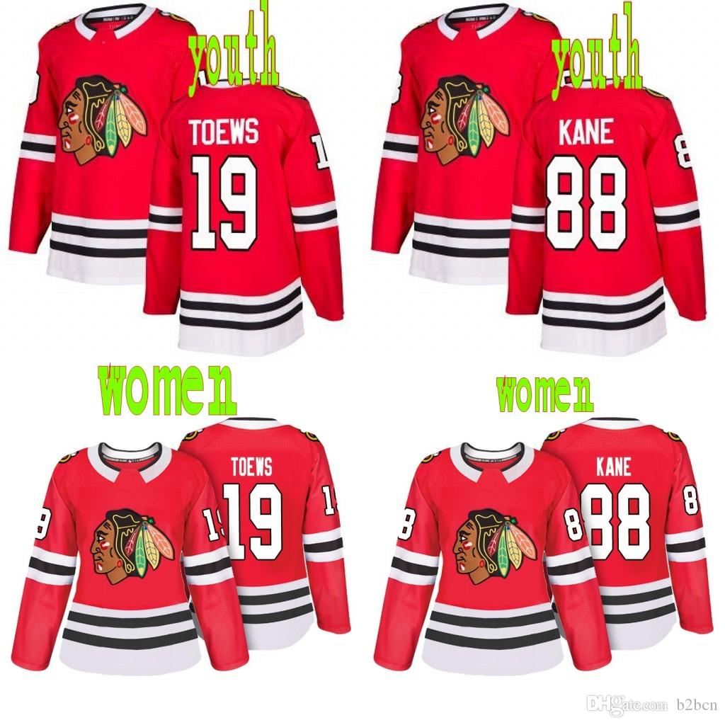 2019 Youth Women Chicago Blackhawks 19 Jonathan Toews 88 Patrick Kane Home  Red Hockey Jersey From B2bcn 5f12c63e3e39d