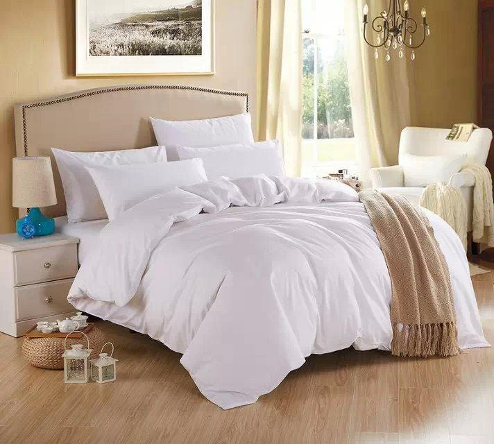 new white theme high quality home bedding set 2 pillow case 1 bed