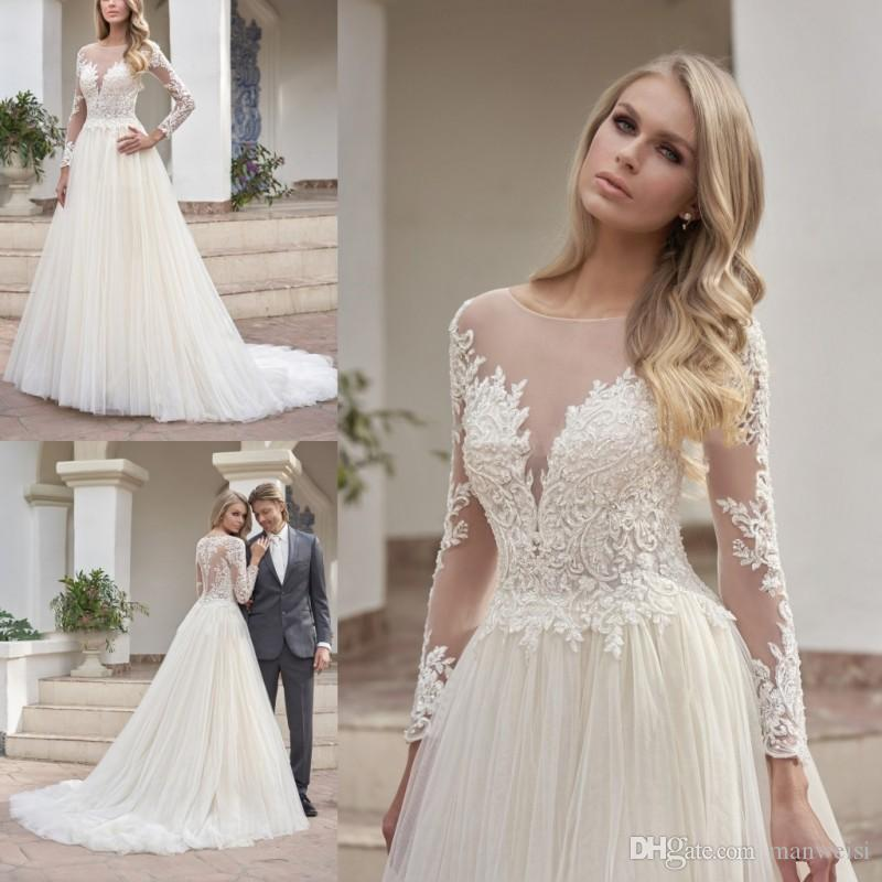7944d99015 Discount Jasmine 2019 Long Sleeves Wedding Dresses Sexy Sheer Jewel Neck  Lace Appliqued Bridal Gowns Garden Country Plus Size Wedding Dress Latest  Bridal ...