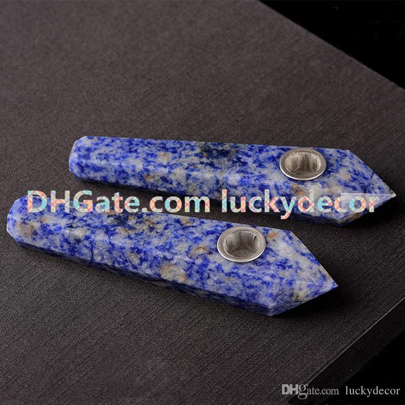 Blue Spot Sodalite Quartz Pipe Beautiful Gemstone Healing Natural Granite Stone Crystal Pipe Brazil Sodalite Jasper Smoking Pipe for tobacco