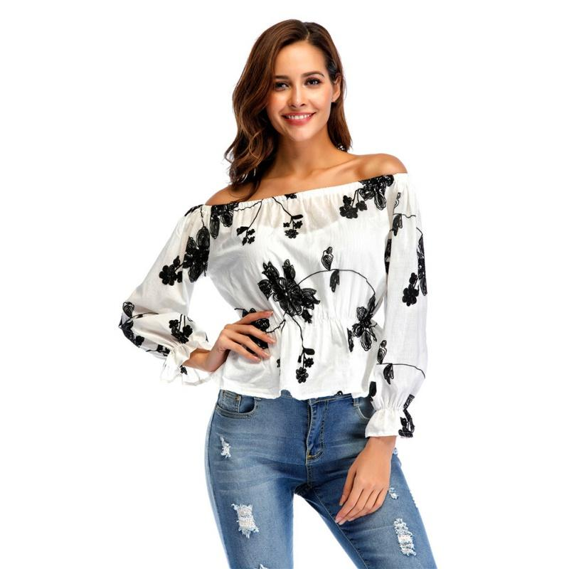 52477c5e205b40 2019 New Womens Tops Fashion Ruffle 2018 Sexy Off Shoulder Blouse Women  Floral Printed Long Sleeve Shirt Blusas Feminino White W1 From Glorying