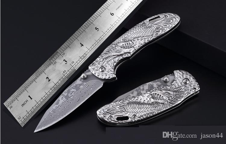 Damascus steel Embossing process steel handle Camping Hunting Survival folding knives CNC pocket knife Mini outdoor EDC tactical knife