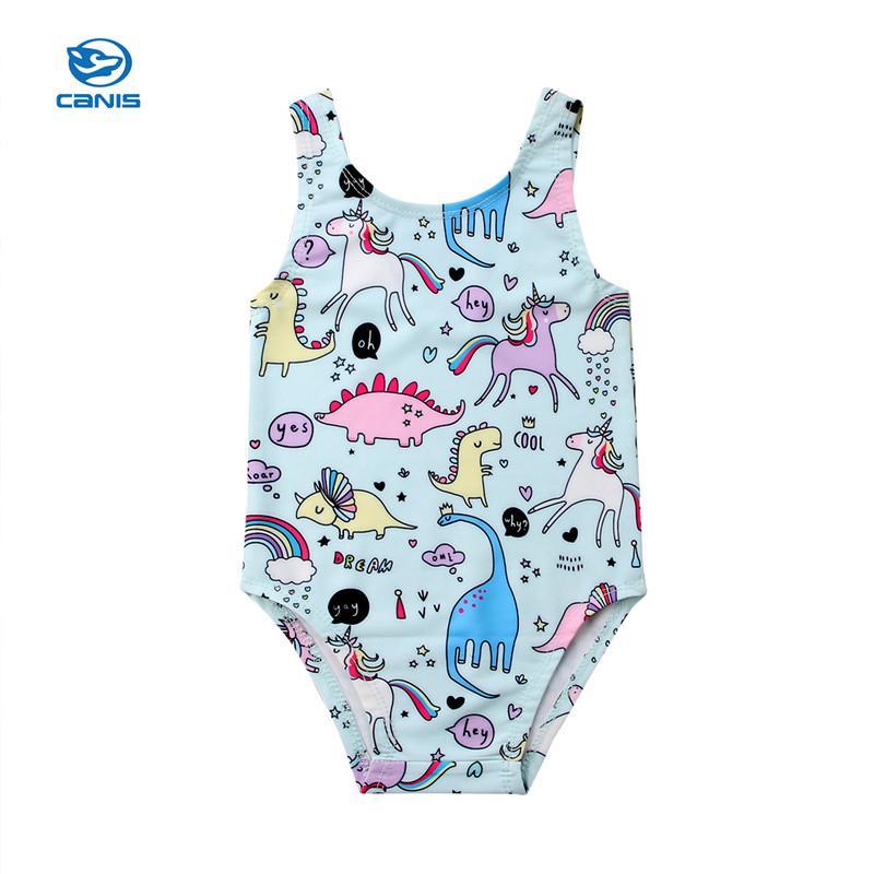 c6434e5f61610 2019 2018 Summer Children Kids Baby Girls Bikini One Piece Sleeveless  Unicorn Print Swimwear Infant Girls Beachwear Swimsuit Swimming From  Gaozang, ...