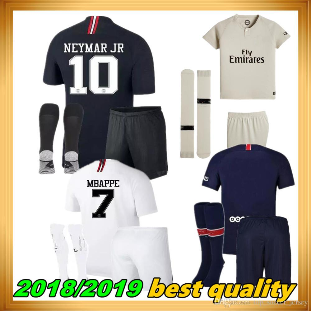 7f413b0b1 2018 Psg Kids Kit Jersey 18 19 Champions League MBAPPE Black White ...