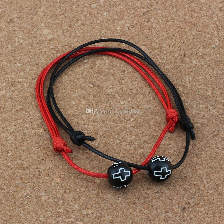 20PCS/lots Hollow Cross Carved Acrylic Round Beads Adjustable kabbalah Korea Waxed Cotton Cord Bracelets (red & black ) B-71
