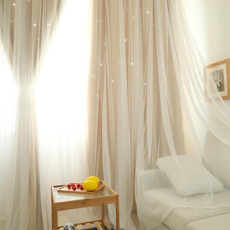 Großhandel Korean Style Kleine Vorhang Für Wohnzimmer Esszimmer Schlafzimmer  Frische Doppel Openwork Star Vorhänge Mädchen Schlafzimmer