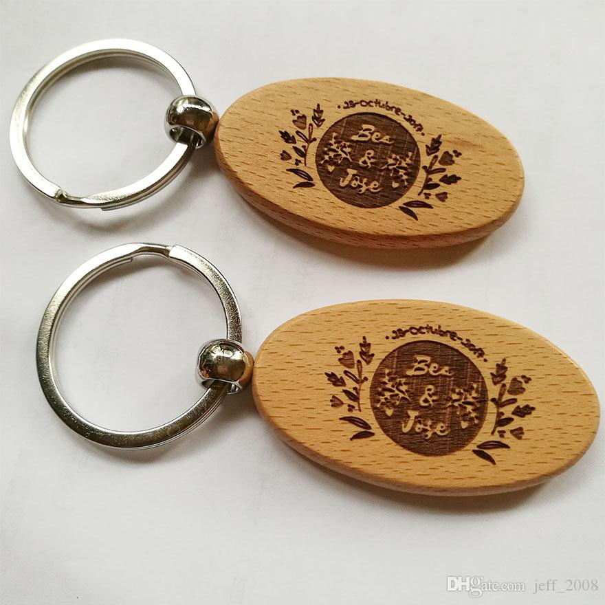 Wholesale Oval Blank Wooden Key Chain DIY Promotion Customized Key Tags Promotional Gift Ring-