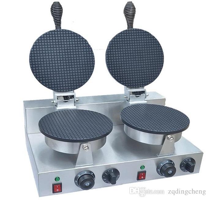 送料無料~110V 220Vダブルヘッドアイスクリームコーンメーカー/ワッフルコーンマシン
