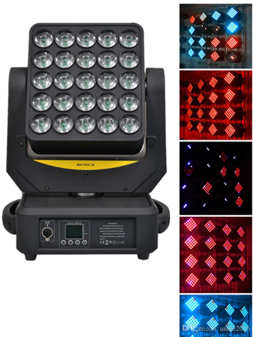 2 Pack 5x5 matrix LED 25*12w 4in1 RGBW Moving Head Light Artnet And  Wireless Wash Effect Disco Mobile Light