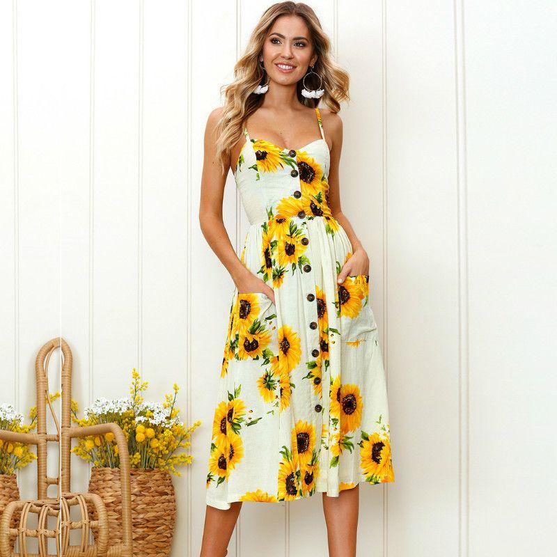 c61700c60d6c9 Simplee Strap v neck summer dress women Sunflower print backless casual  dress vestidos Smocking high waist midi dress female Beach Dresses