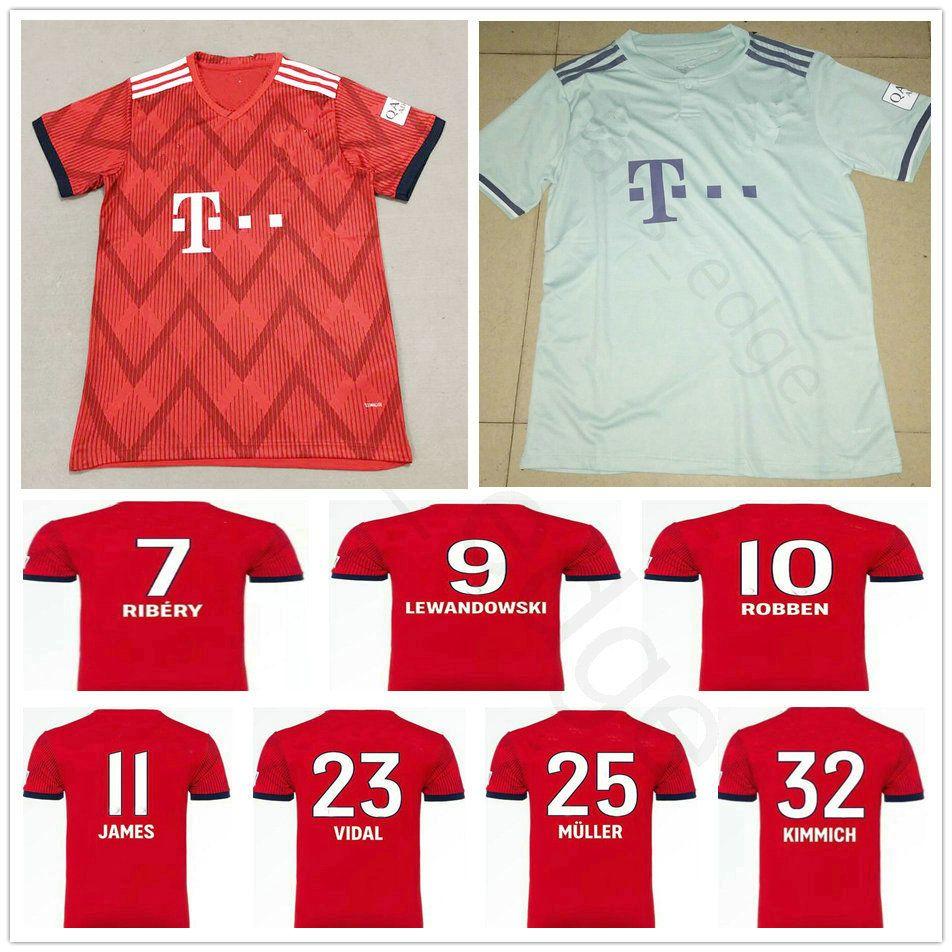 premium selection ba604 f231f 18 19 Bayern Munich Football Jerseys 11 JAMES RIBERY KIMMICH LEWANDOWSKI  ROBBEN MULLER BOATENG VIDAL NEUER 2018 2019 Custom Red Soccer Shirt