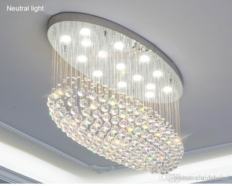 Plafoniere Con Gocce Di Cristallo : Acquista moderno ovale led k lampadario di cristallo
