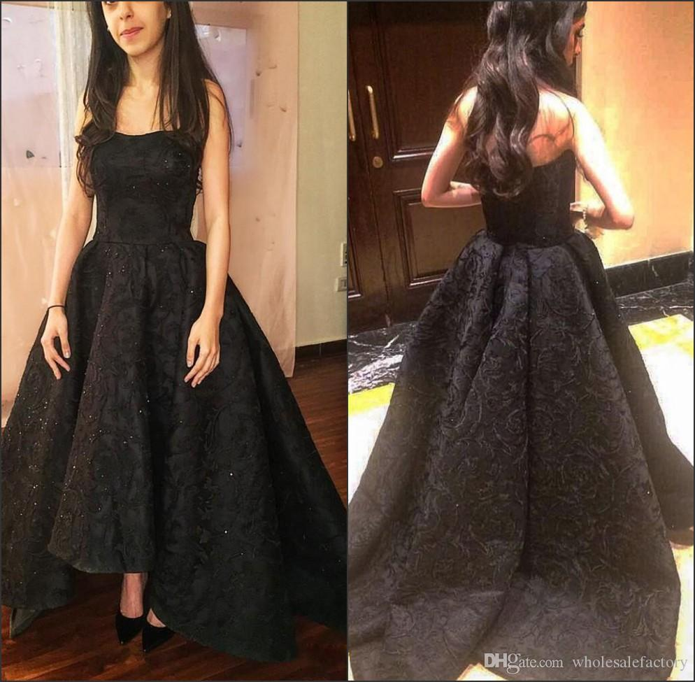 Black Strapless Lace High Low A Line Evening Dresses 2018 Sweep ...