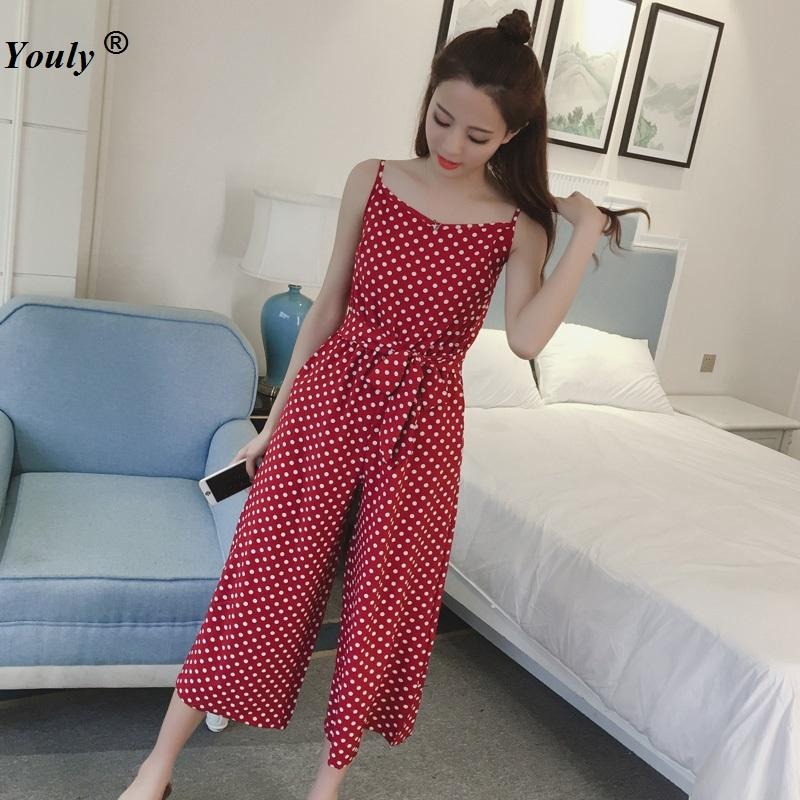 125f301777b1 2019 Polka Dot Suspender Jumpsuit Pants 2018 Women Red Bandage Chiffon  Jumpsuits Casual Bodycon Long Section Female Pantsuits From Clothesg220