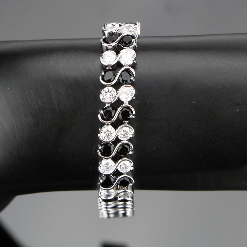 520dd68a656c Compre 25 Conjuntos De Joyas Disfraz De Plata 925 Conjuntos De Joyas  Mujeres Negro Circón Joyas Con Piedras Pendientes Pulseras Colgante Collar  Anillos ...