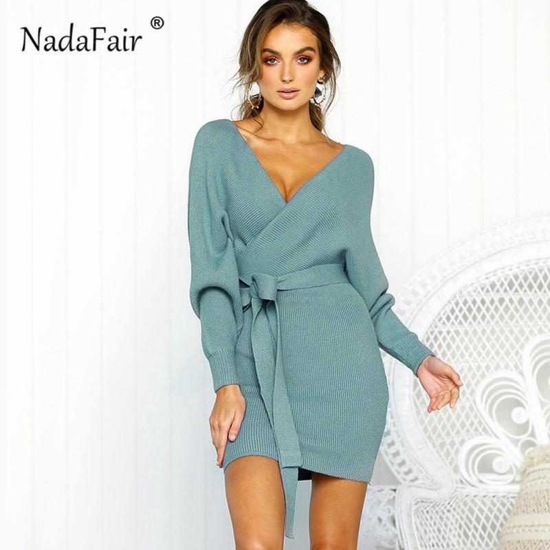 66c7e6cf9149 Nadafair long sleeve v neck knitted dress women casual sash autumn winter  sweater dress ladies sexy elegant wrap pullover