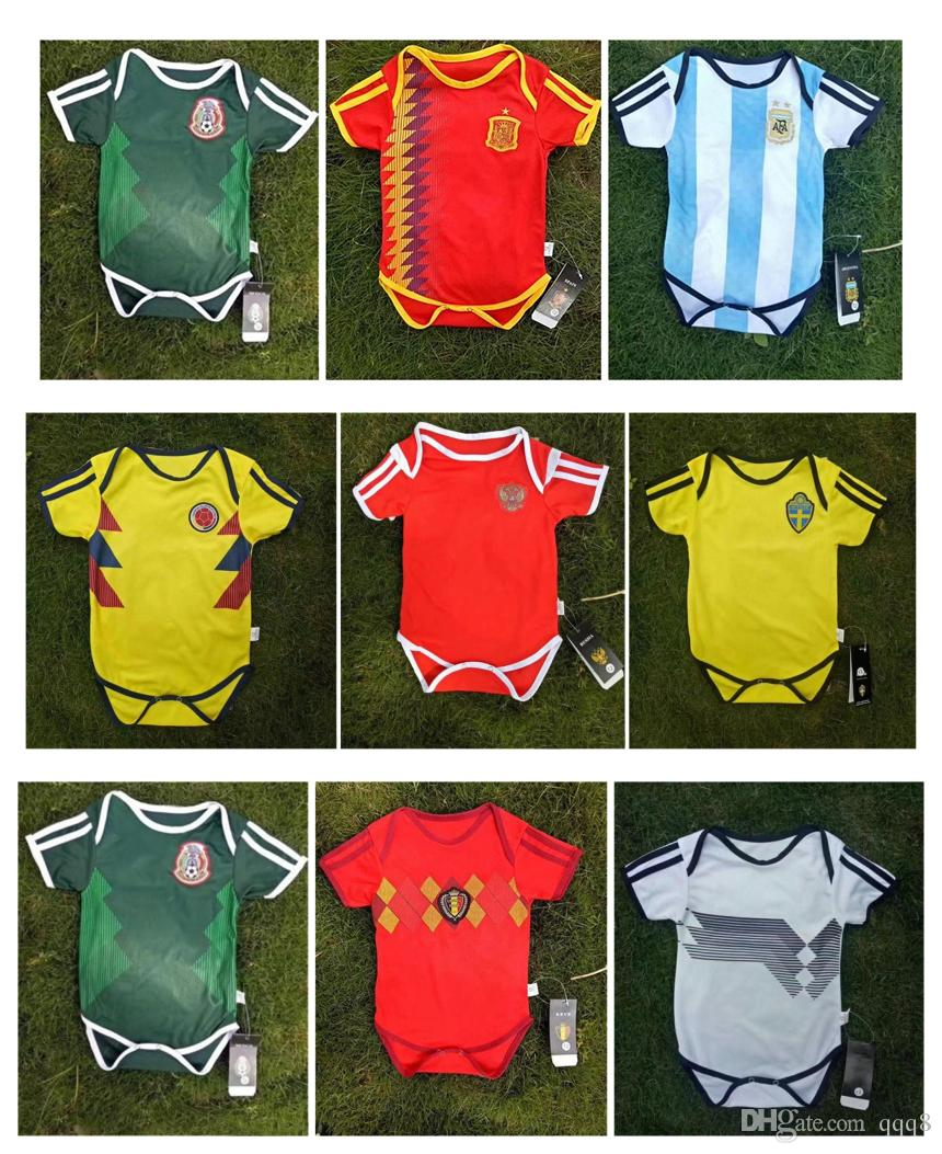 Copa Mundial De Fútbol 2018 Camiseta De Fútbol Para Bebés Argentina  Argentina Coloimbia México Rusia Suecia Bélgica Baby Kit Infantil Selección  Nacional ... 8242eaf656df7