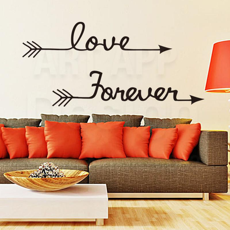 Art Design Home Decoration Vinyl Love Forever Words Wall Stickers ...