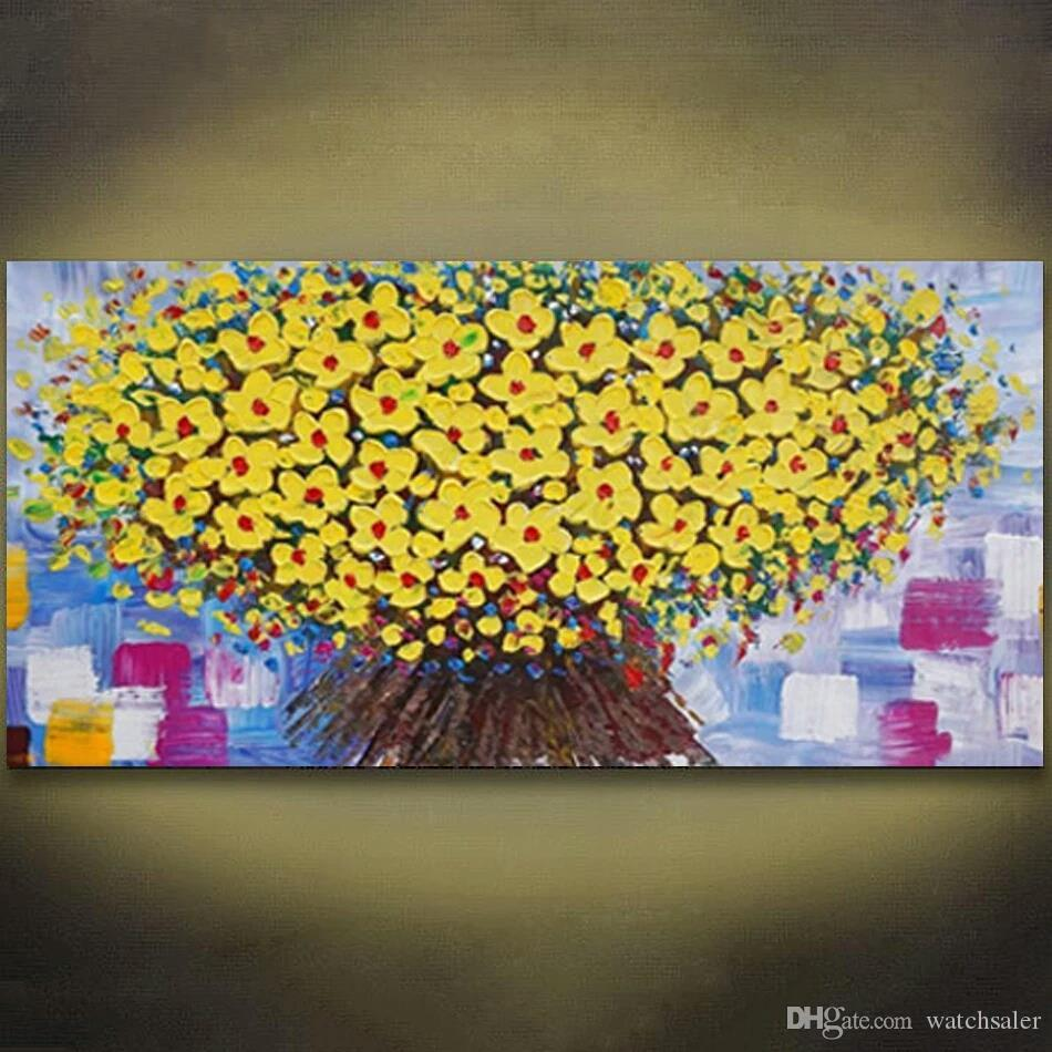 1 Panels Knife Painting Yellow Flower Abstract Modern Wall Art Canvas Hand Painted Oil Paintng For Home Wall Art Picture Unframed