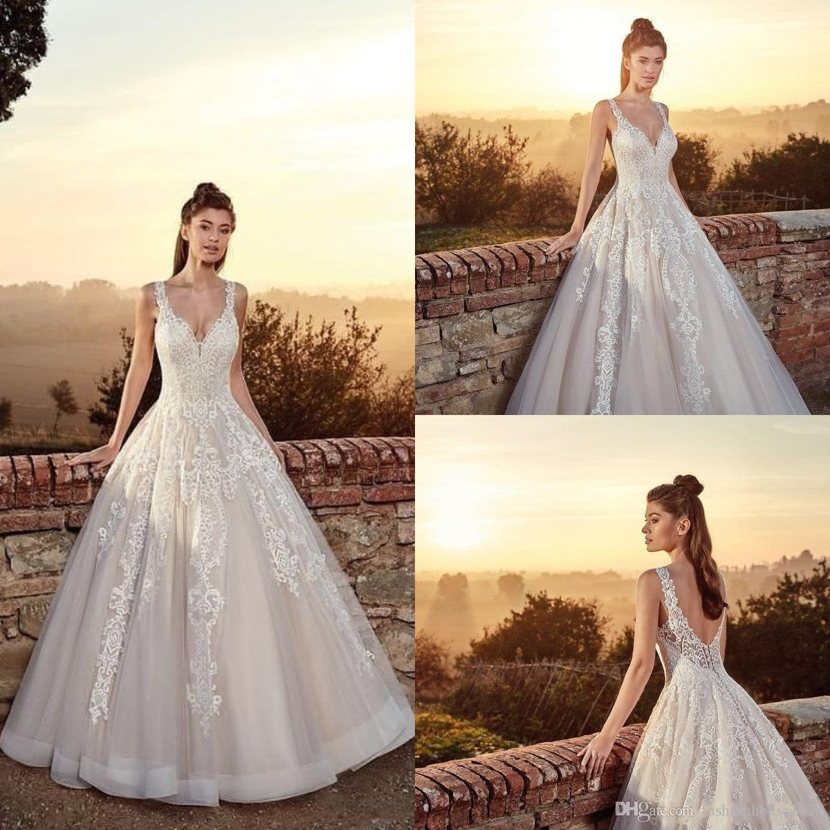 176bcb8483b Discount 2018 Cheap Eddy K A Line Wedding Dresses Spaghetti Straps  Sleeveless Open Back Lace Appliques Sweep Train V Neck Tulle Country Bridal  Gowns Grecian ...