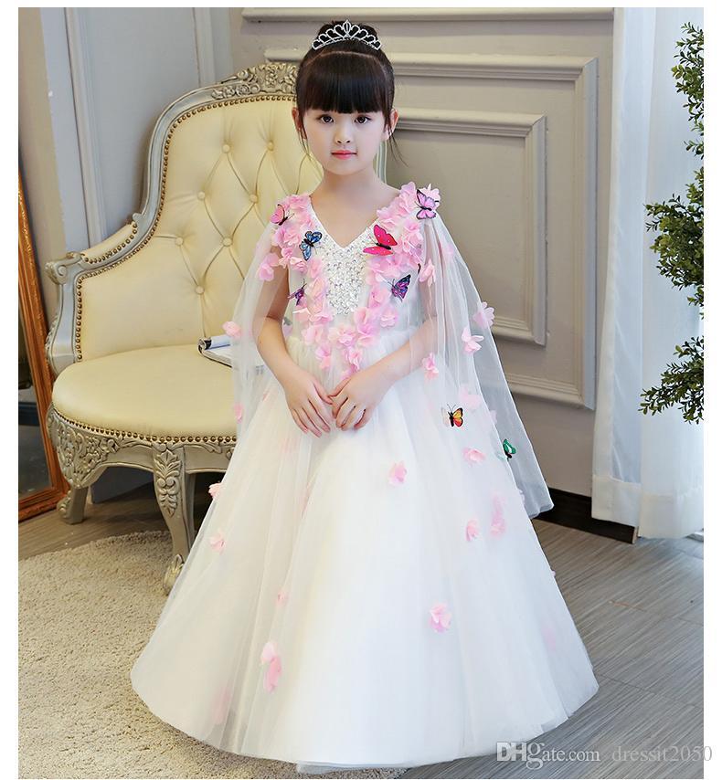 461a1e03e Lovely White Tulle Butterfly Applique Girls' Pageant Dresses Flower Girl  Dresses Holidays Dresses Birthday Skirt Custom Size 2 14 DF617146 Girls  Flower ...