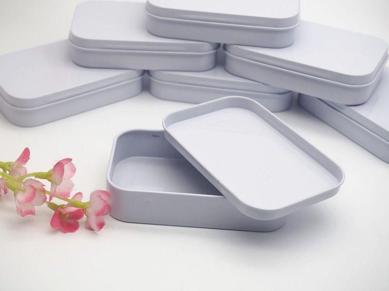94x59x21mm Rectangle white tea tin box mint packing box pill candy jewelry storage box