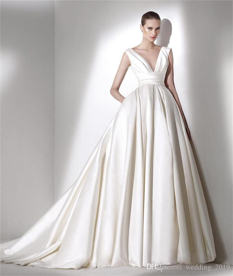 A-Line Wedding Dresses Sexy deep V collar zipper wrapped sleeves satin cloth satin cloth side pocket with tail tail, cheap wedding envelope
