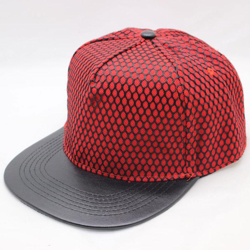 Women Men Flat Bill Snapback Hat PU Leather 5 Panel Hip Hop Baseball Cap  With Mesh Eyelet Red Black Blue White Womens Baseball Hats Cheap Snapback  Hats From ... 1589fc0287c