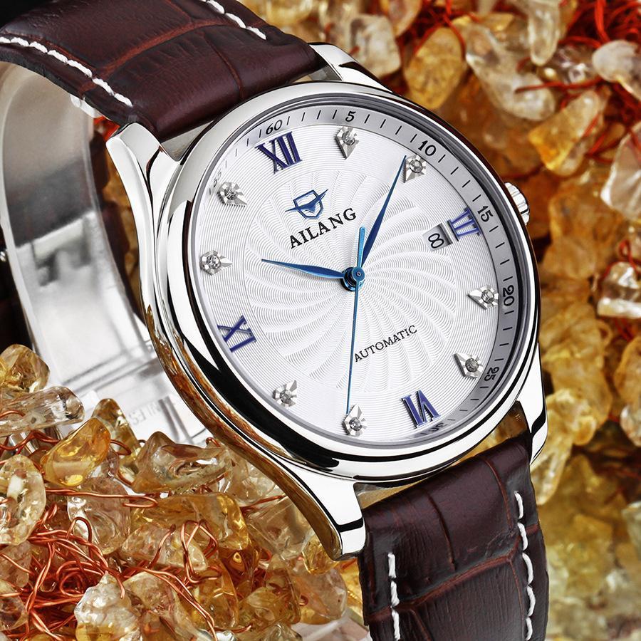 ae9c9db30ad Compre Clássico Do Vintage Romano Número Homens AILANG Negócios Relógios  Calendário Automático Vestido Relógio De Pulso Auto Enrolamento Relojes  3ATM NW7198 ...