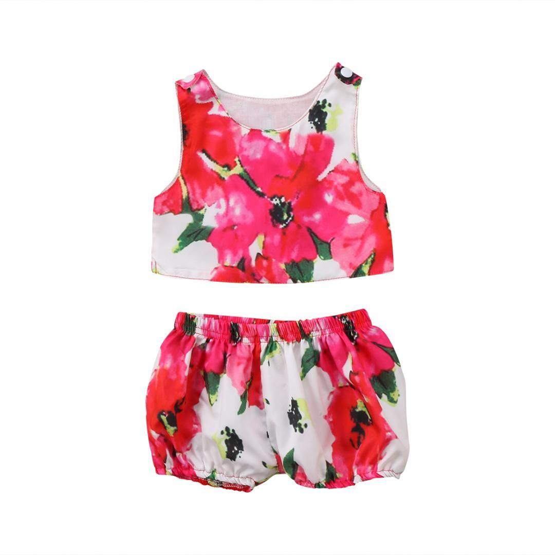 eb85253d3 2pcs Big Red Flower Girls Summer Set Newborn Toddler Baby Kids Girl Summer  Floral T-shirt Tank Tops+Shorts Pants Outfits Clothes