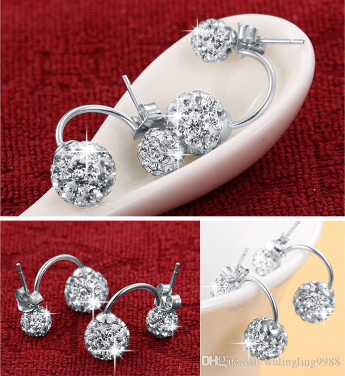 Hochwertige doppelseitige Shambala Ball Ohrstecker Diamant Kristall Disco Perlen Ohrringe 925 Silber vergoldet edlen Schmuck für Frauen