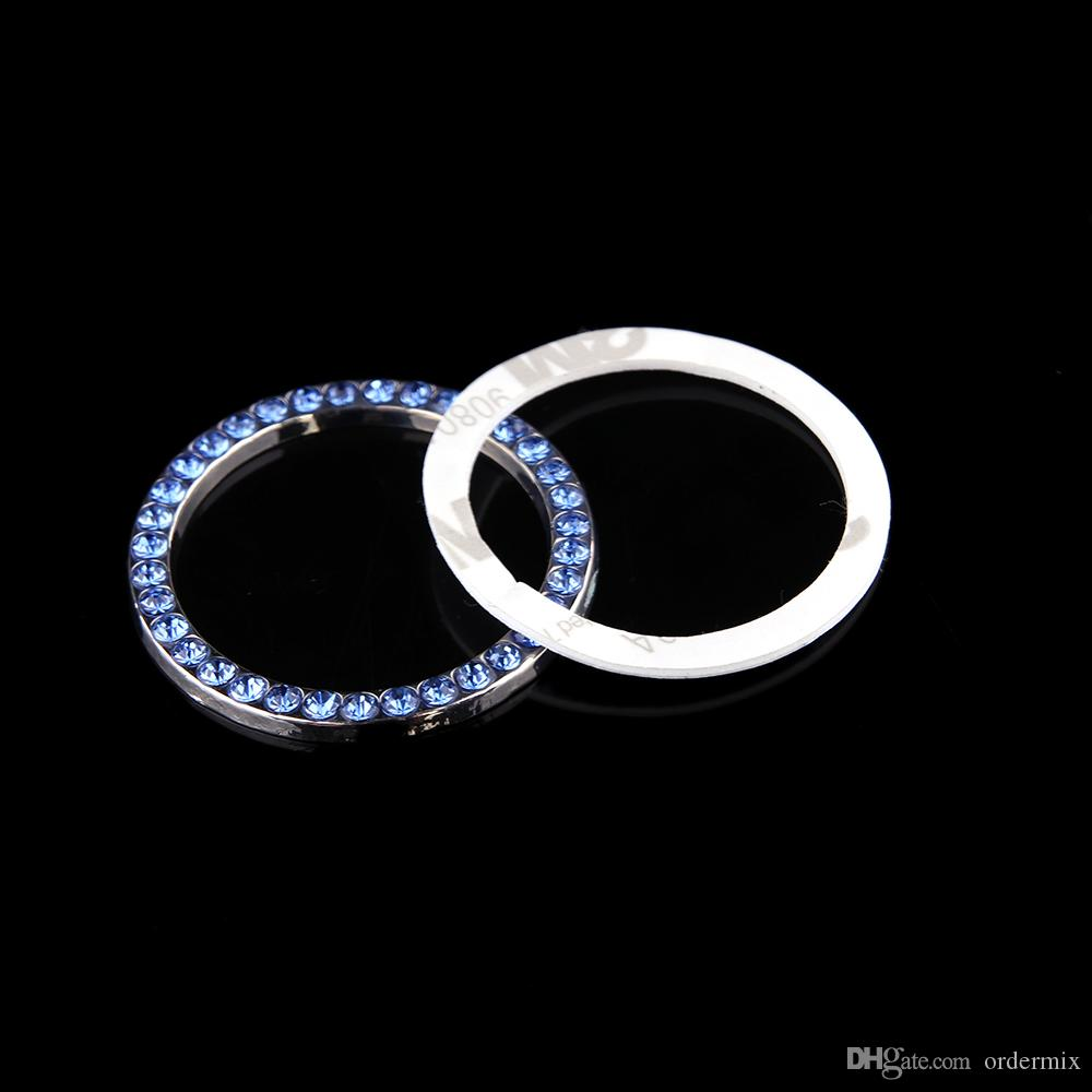 Fashion SUV Bling Practical Car Decorative Blue Button Start Switch Diamond Ring Auto Accessories