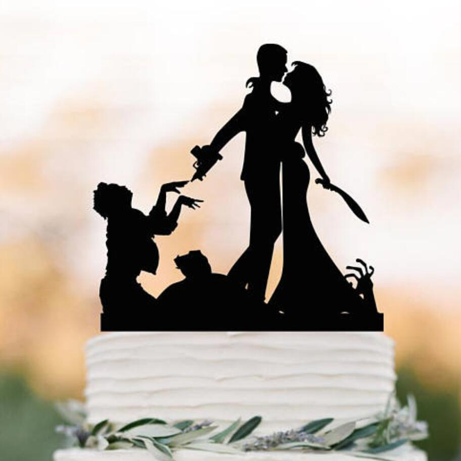 2019 Zombie Wedding Cake Topper Halloween Couple Silhouette Toppers Funny Zombieland From Baolv 2714