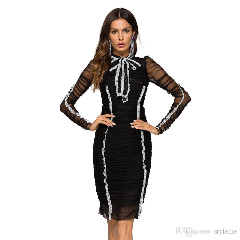 c7697271939 2019 Brand Designer Runway Black Party Dresses 2018 Summer Autumn Celebrity  Style Mesh See Through Long Sleeve Ruched Bodycon Cocktail Gowns From  Styleme, ...