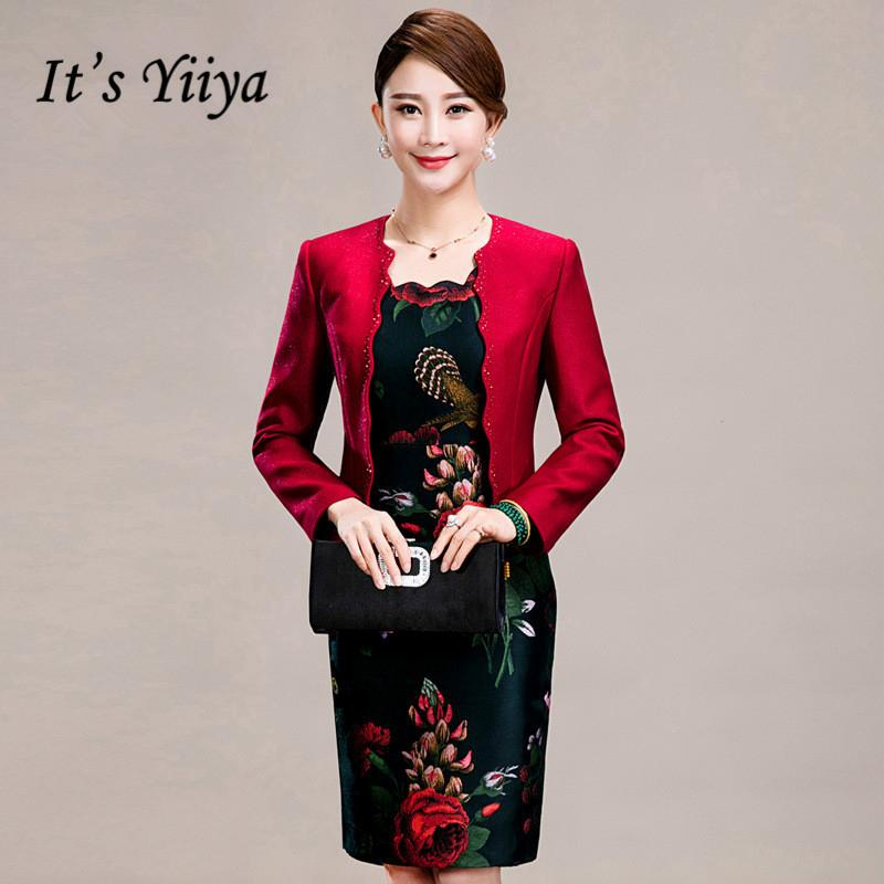 It\'s Yiiya Mother of the Bride Dresses Plus Size 2 Piece Set Flower Pattern  Embroidery Fashion Elegant Mother Dress M011